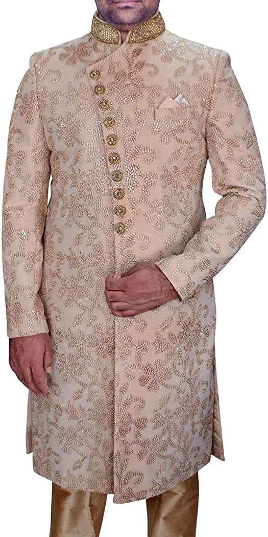 INMONARCH Mens Indo WesternOutfit Beige Wedding Sherwani Machine Embroidered SH0480