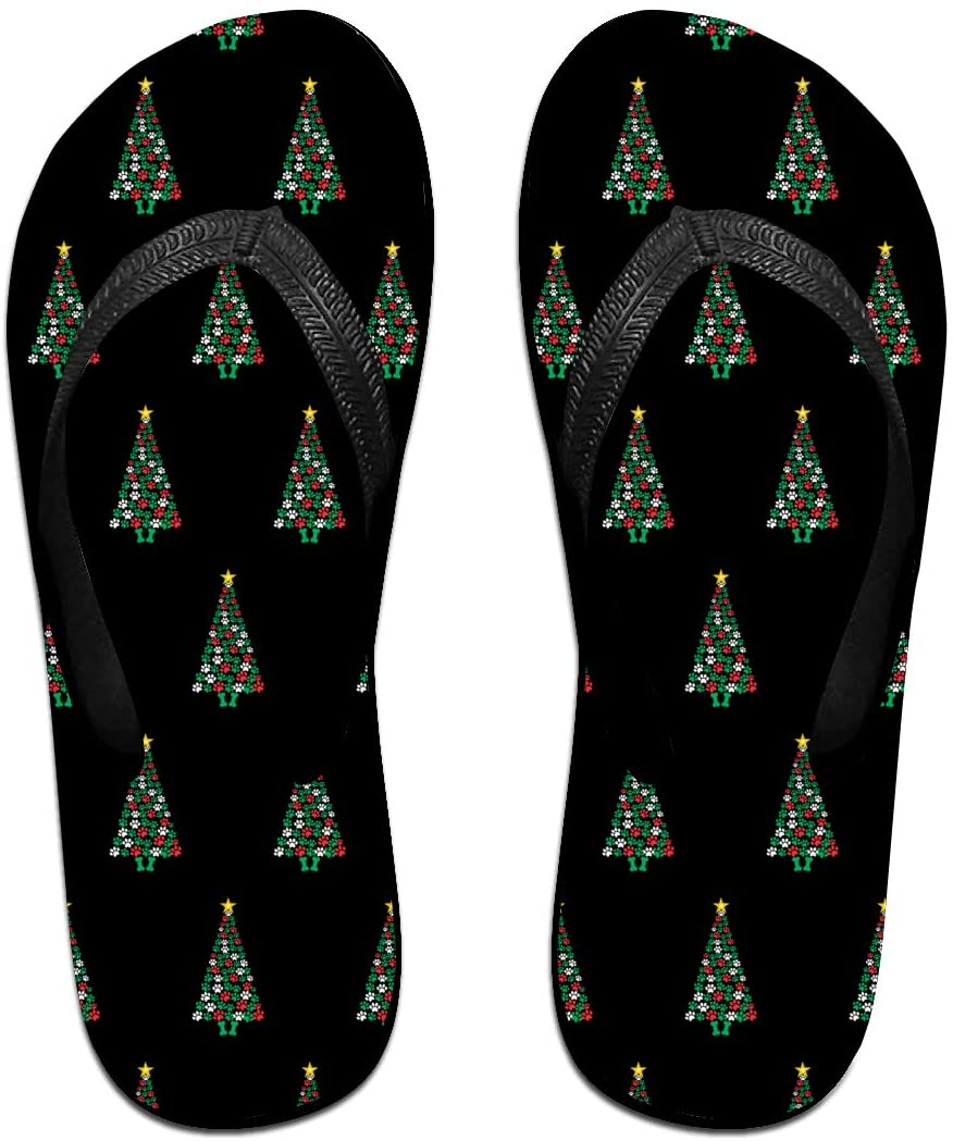 JINYOUR Dog Paws Print Christmas Tree. Unisex Flip Flops Summer Slippers Shoes Beach Sandal