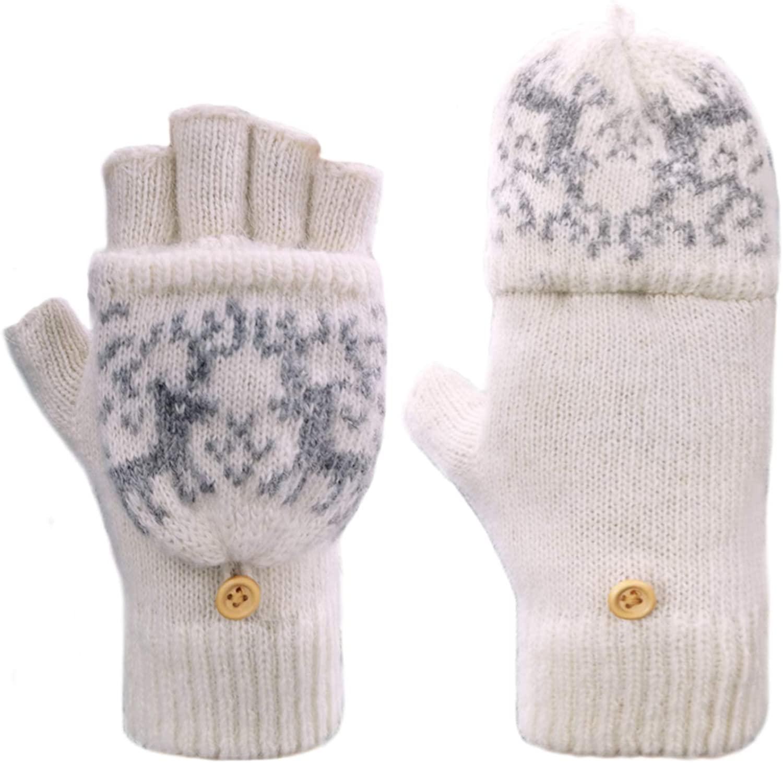 Adorrable Mens Wool Glove Mitten Fingerless Crochet Winter Warm Convertible Knitted Gloves