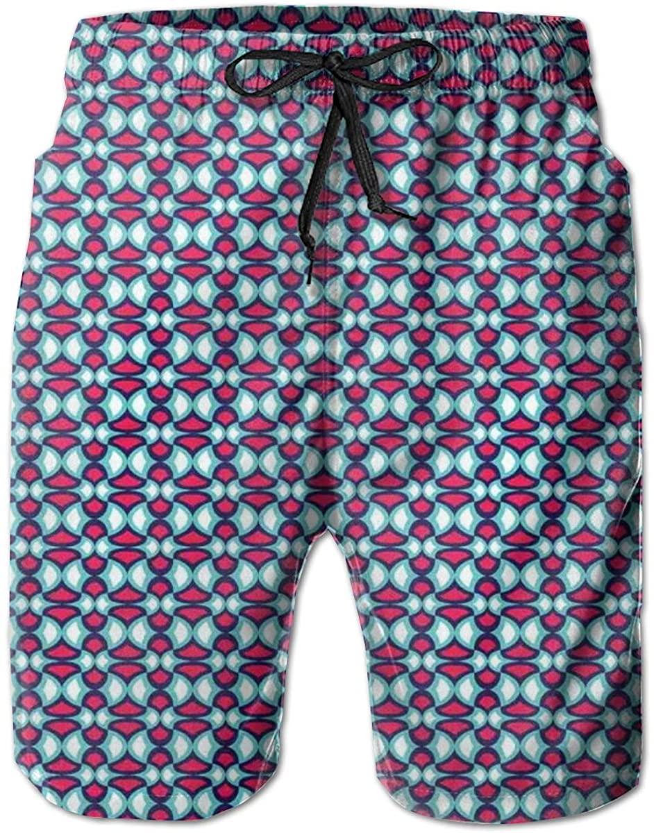 Men's Swim Trunks Quick Dry Beach Shorts Retro Style Pattern with Curves Hipster Geometric Boho Tile M