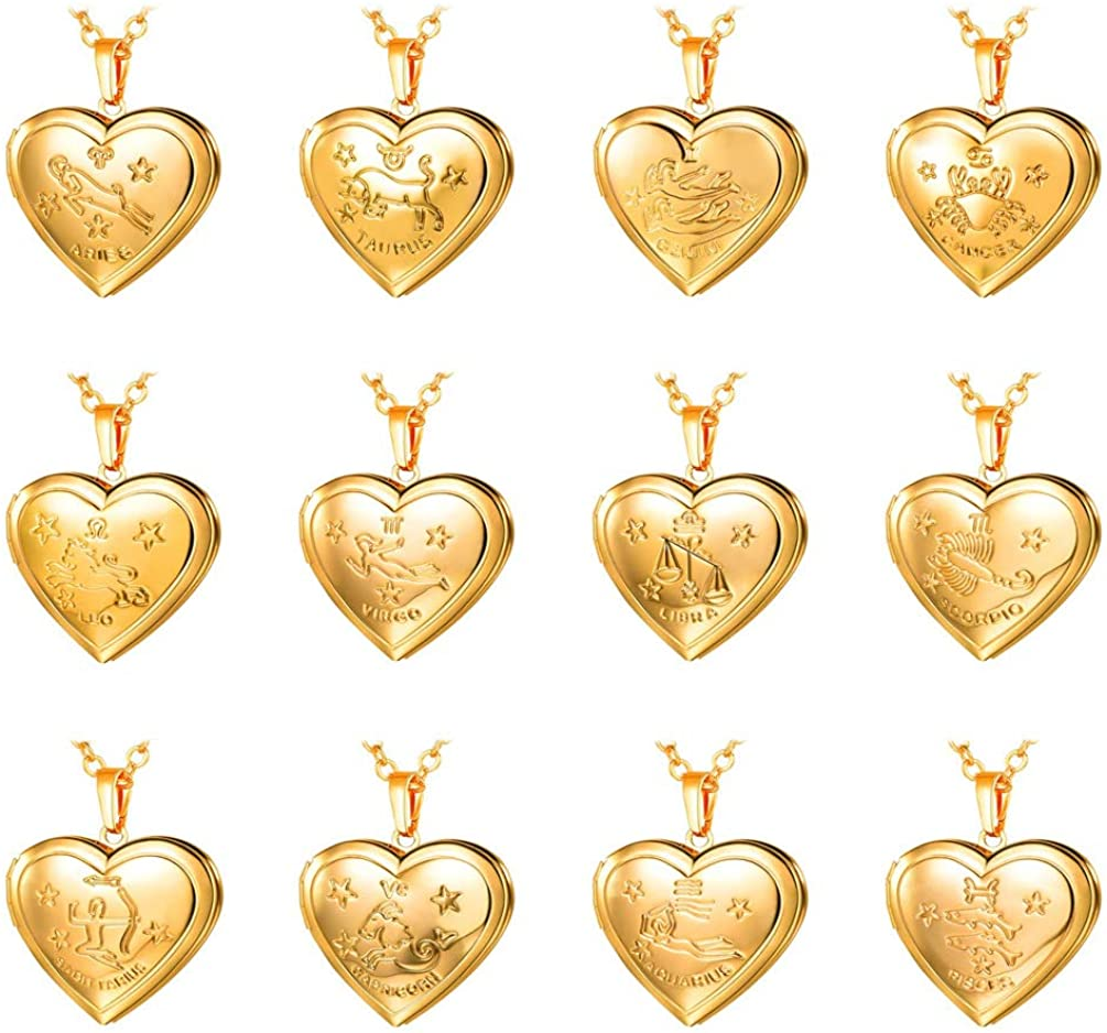 Women Girls Personalized Locket Necklace Zodiac Sign Grain Platinum 18K Gold Heart Pendant that Hold Photo Picture, with Text Engrave or Image Custom, Chain 20 Inch