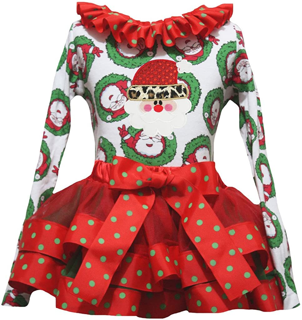 Petitebella Leopard Santa Claus L/s Shirt Red Ribbon Petal Skirt Xmas Set Nb-8y