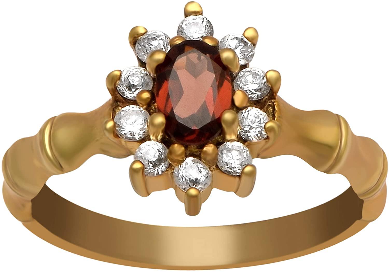 0.42 Ctw Garnet Gemstone Sunflower Design Zigzag Shank 925 Sterling Silver Wedding Ring