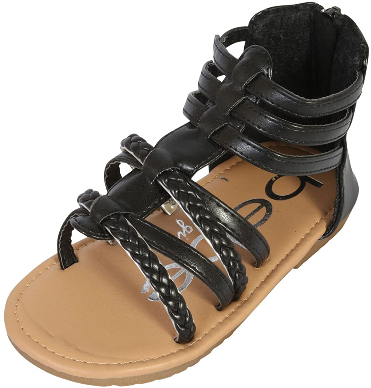 bebe Girls Gladiator Sandals with Glitter Braided Straps (Toddler)