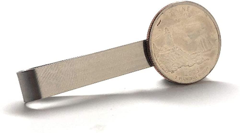 Williams and Clark Tie Clip Maine Lapel Pin State Quarter Enamel Coin Tie Bar Travel Souvenir Coins Collector Cool Fun