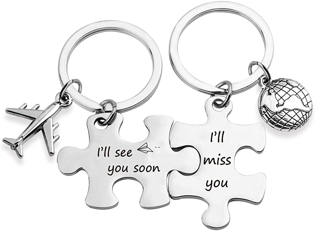 EIGSO Long Distance Relationship Gifts Puzzle Couple Keychain I'll See You Soon I'll Miss You Deployment Gift Military Gift Going Away Gift (See You Soon Miss KR)