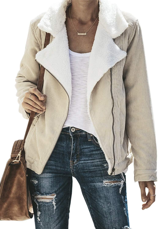 Aleumdr Womens Winter Oversized Casual Fuzzy Fluffy Fleece Zip up Open Front Long Sleeve Coat Outwear Jackets with Pockets