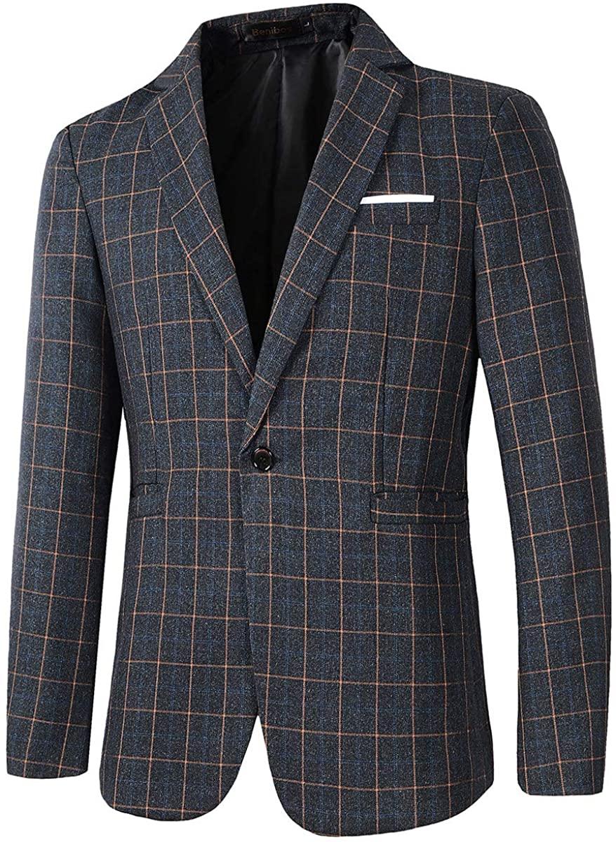 Beninos Mens Casual One Button Slim Fit Plaid Blazer Jacket Sport Coat