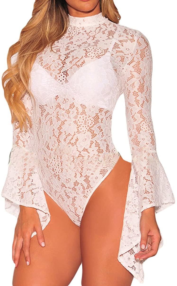 Womens Sexy Lace Teddy Lingerie One Piece Babydoll Bodysuit Top, Black Sheer Lace Bodysuit Shapewear Clubwear Blouse