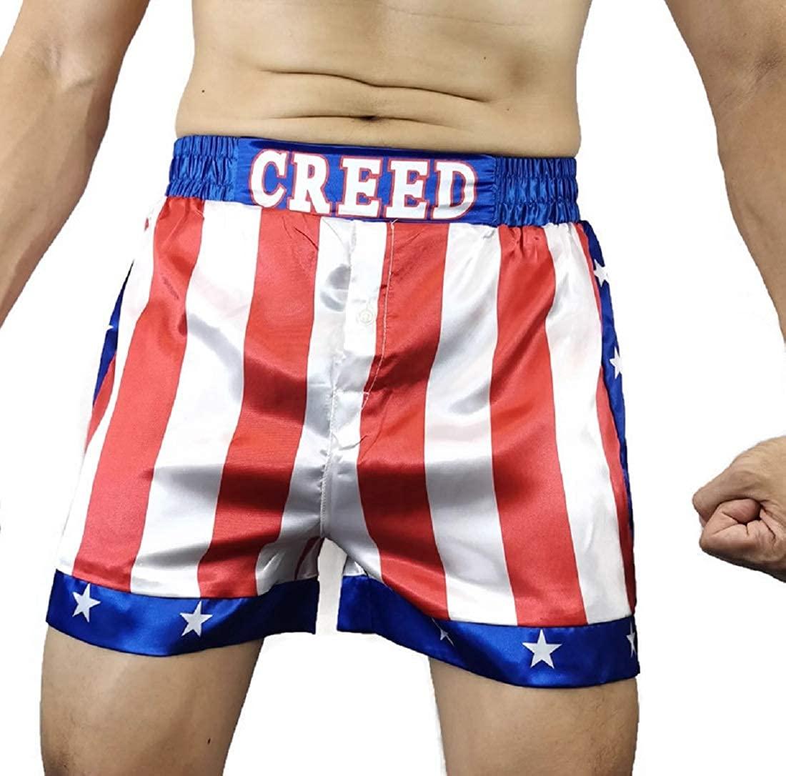 Creed Rocky Men's Apollo Johnson Movie Boxing American Flag Shorts Trunks Boxers