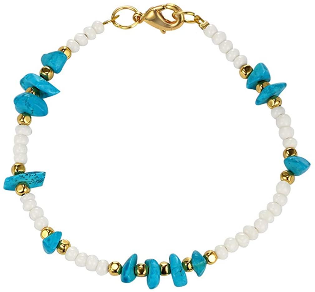 YAZILIND Bohemian Beads Bracelet Irregular Gemstone Elastic Anklet Female Jewelry