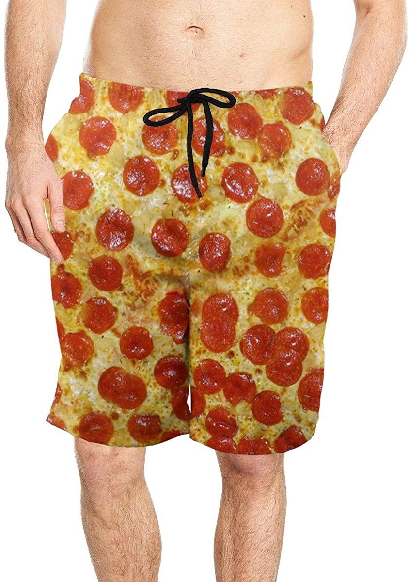 Sausage Pizze Men's Beach Board Shorts Stylish Elastic Waist Swim Trunks Swimwear with Mesh Lining