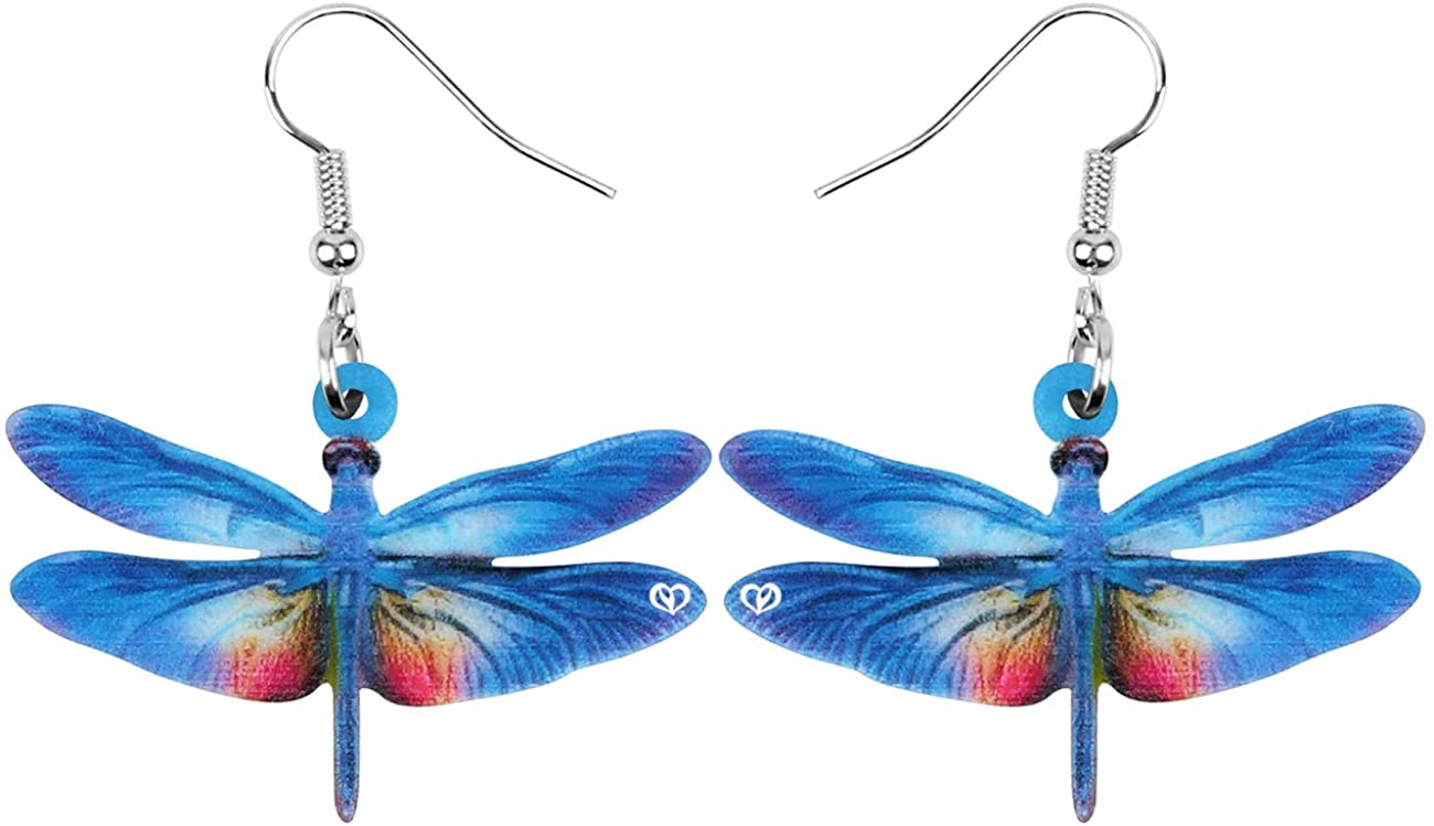 NEWEI Acrylic Anime Dragonfly Earrings Colorful Big Insect Animal Dangle Drop For Women Girls Summer Charm Jewelry Gift