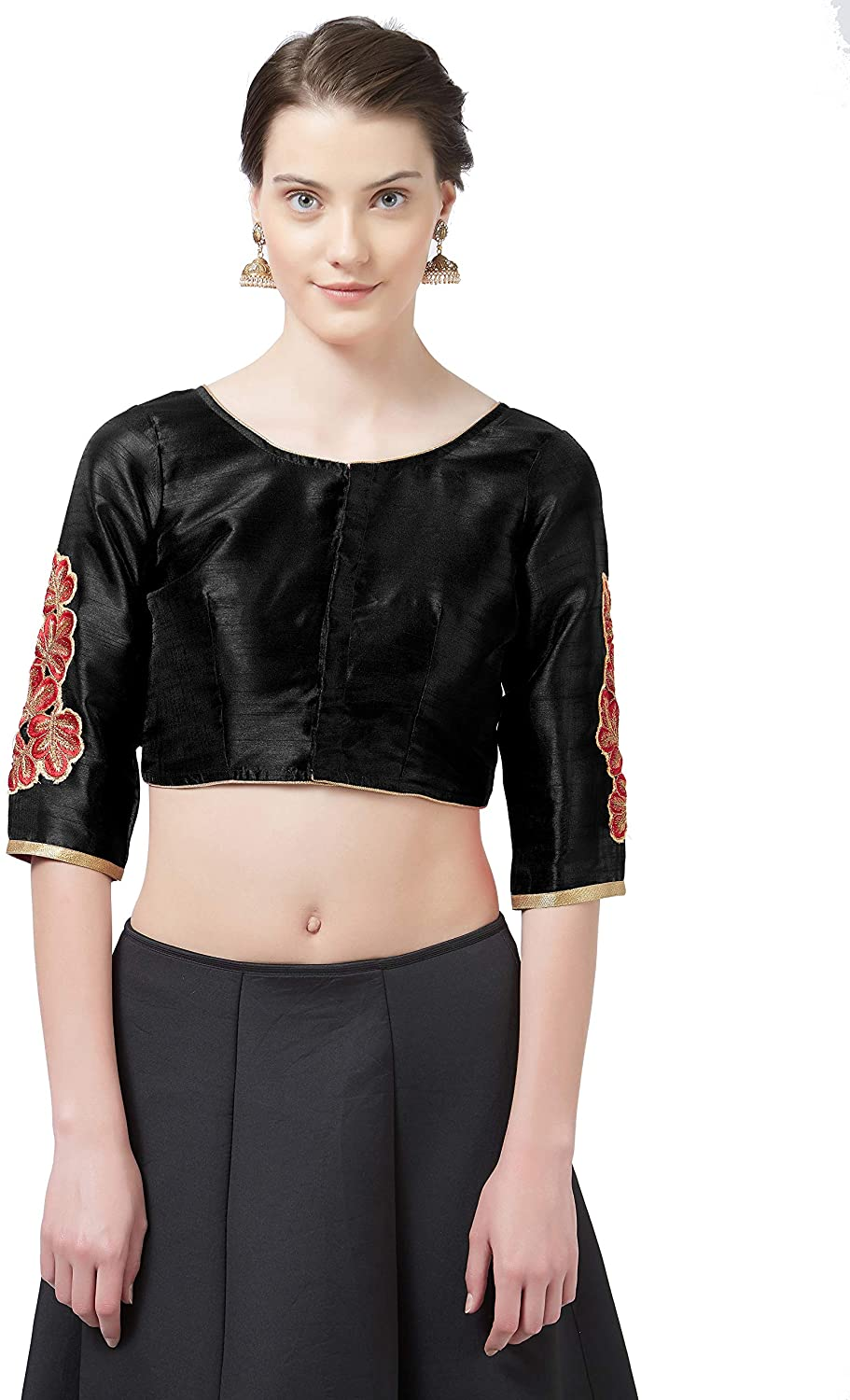 Sourbh Women's Ready Made Blouse Butta and Lace Work Top (Black)