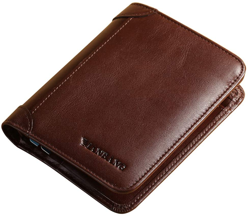 MANBANG Wallet with Money Clip for Men inserts Credit Cards Genuine Leather Slim Trifold with ID Window and Credit Card Holder Pockets
