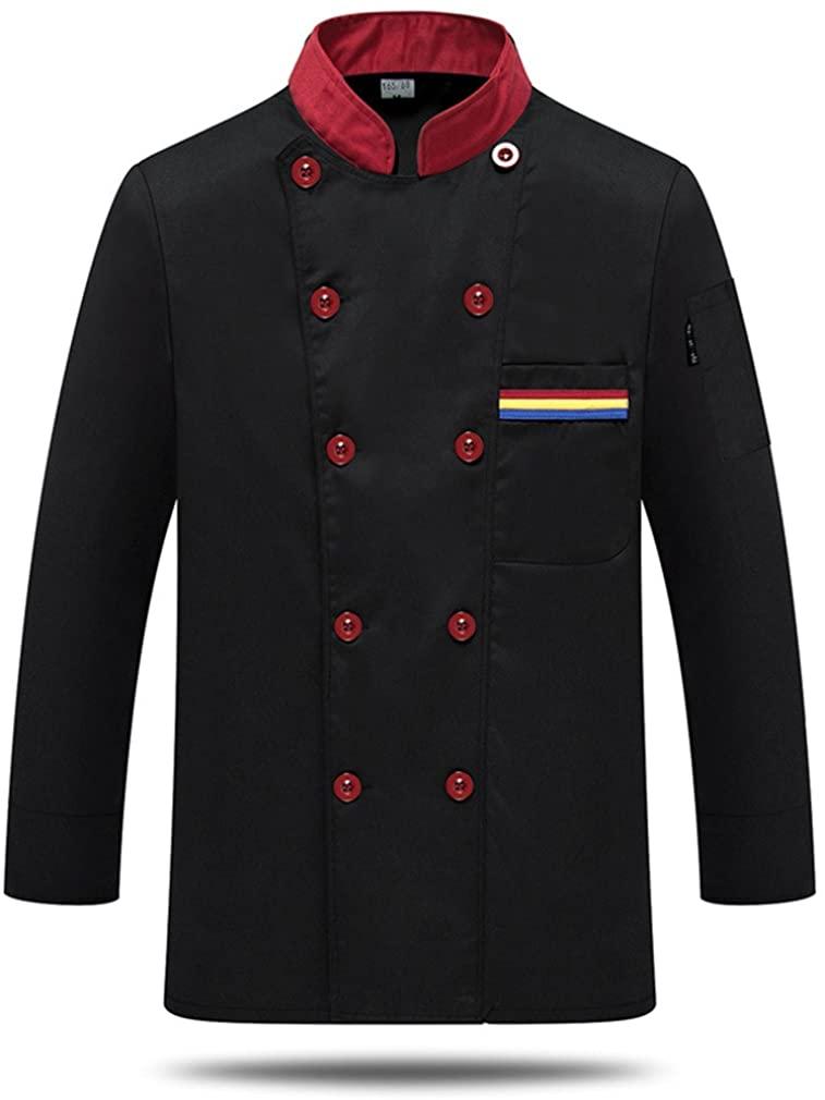 WAIWAIZUI Fashion Chef Jackets Cook Jacket Service Waiter Coat Long Sleeves