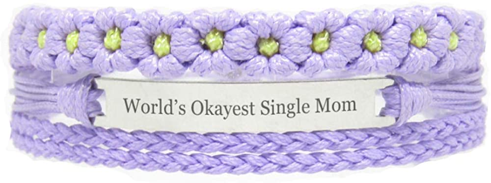 Miiras Family Engraved Handmade Bracelet - World's Okayest Single Mom - Purple FL - Made of Braided Rope and Stainless Steel - Gift for Single Mom