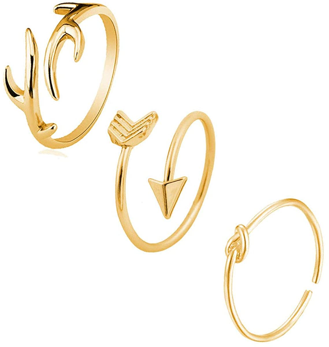 ZZ ZINFANDEL 3 Pcs Open Adjustable Antlers Branches Love Arrow Knot Rings Set Stackable Thumb Knuckle Rings for Teen Girls Fashion Jewelry
