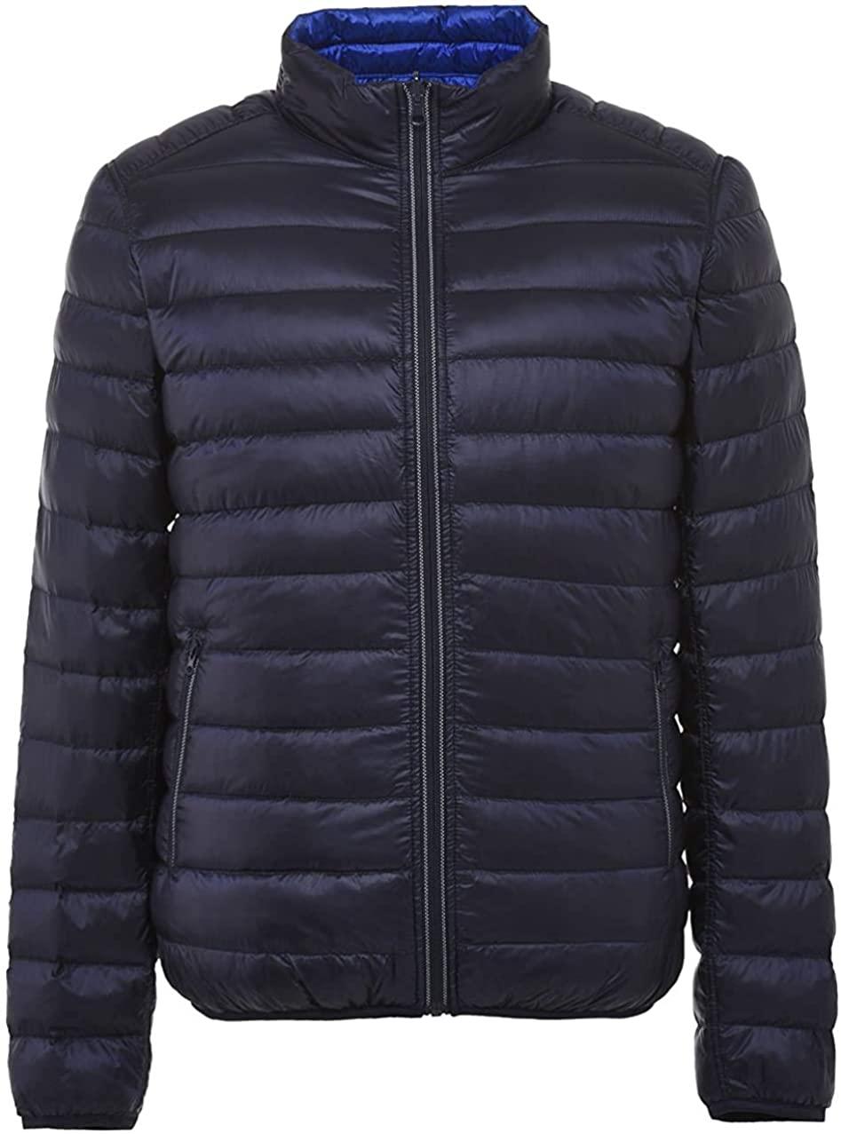 Qhghdgysd Men's Stand Collar Full-Zip Ultra Lightweight Reversible Packable Down Jacket