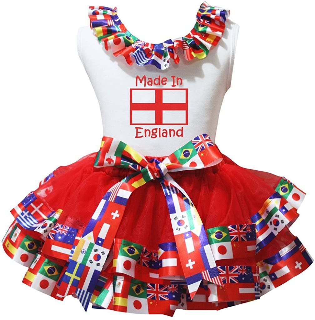 Petitebella Made in England Flag White Cotton Shirt Petal Skirt Set Nb-8y