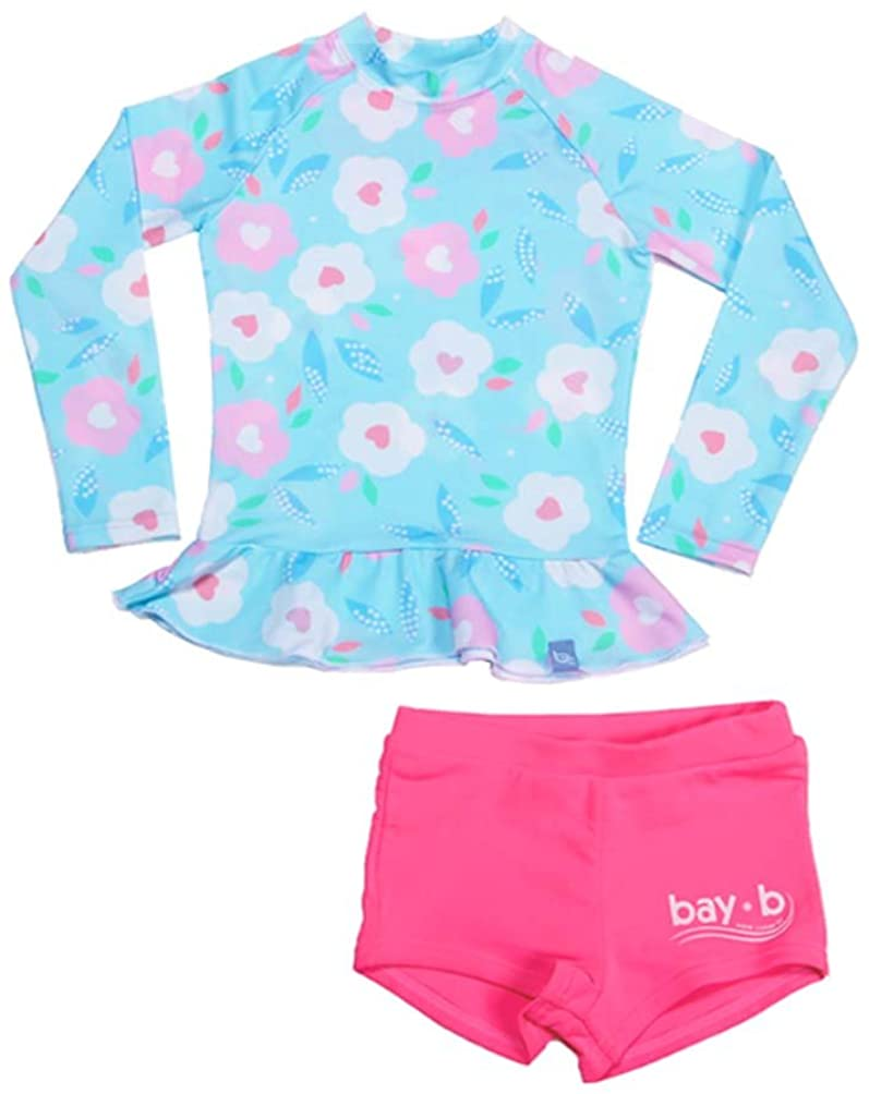 BAY-B] Baby Kids Toddler Girls Kids 2 Piece Long Sleeve Blossom Rash Guard Swimwear UPF 50+ Sun Protection