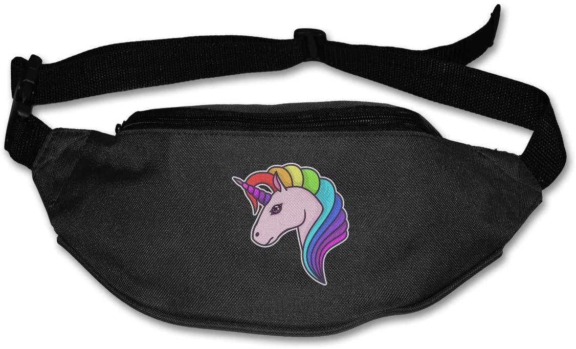 SWEET-YZ Unisex Waist Pack Unicorn Head Flat Fanny Bag Pack for Sport Running
