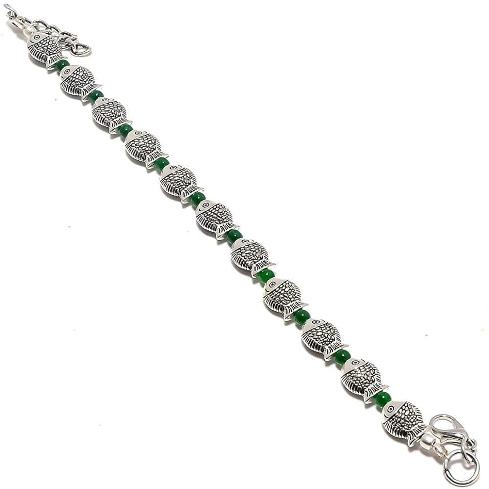 Handmade Jewellry! Green Plan Beads Silver Plated 16 Grams Beacelet 7-9