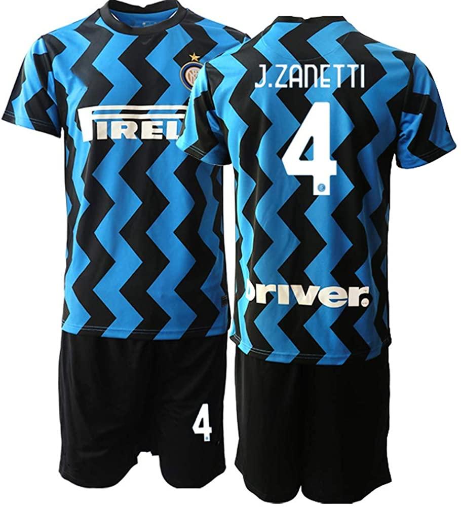 WEIFENG Kids 20/21 J.Zanetti 4# Soccer Jersey T-Shirt and Sports Shorts Suit -Blue Black