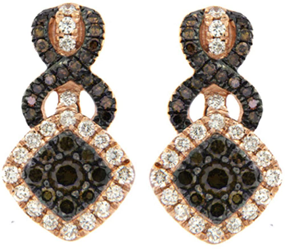 Prism Jewel 0.78CT Natural Brown & White Diamond Twisted Cluster Style Earrings Crafted In 10k Rose Gold