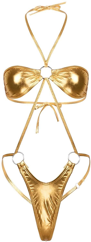 ACSUSS Womens Shiny Metallic Lingerie Halter Neck Slingshot Mini Trikini Thong Leotard Bodysuit