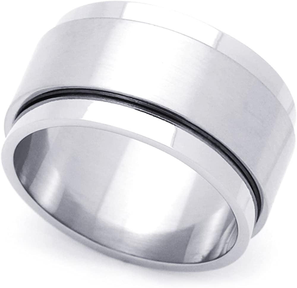 Double Accent Custom Engraving 10MM Comfort Fit Stainless Steel Wedding Band Flat Wide Spinner Wedding Band Promise Ring
