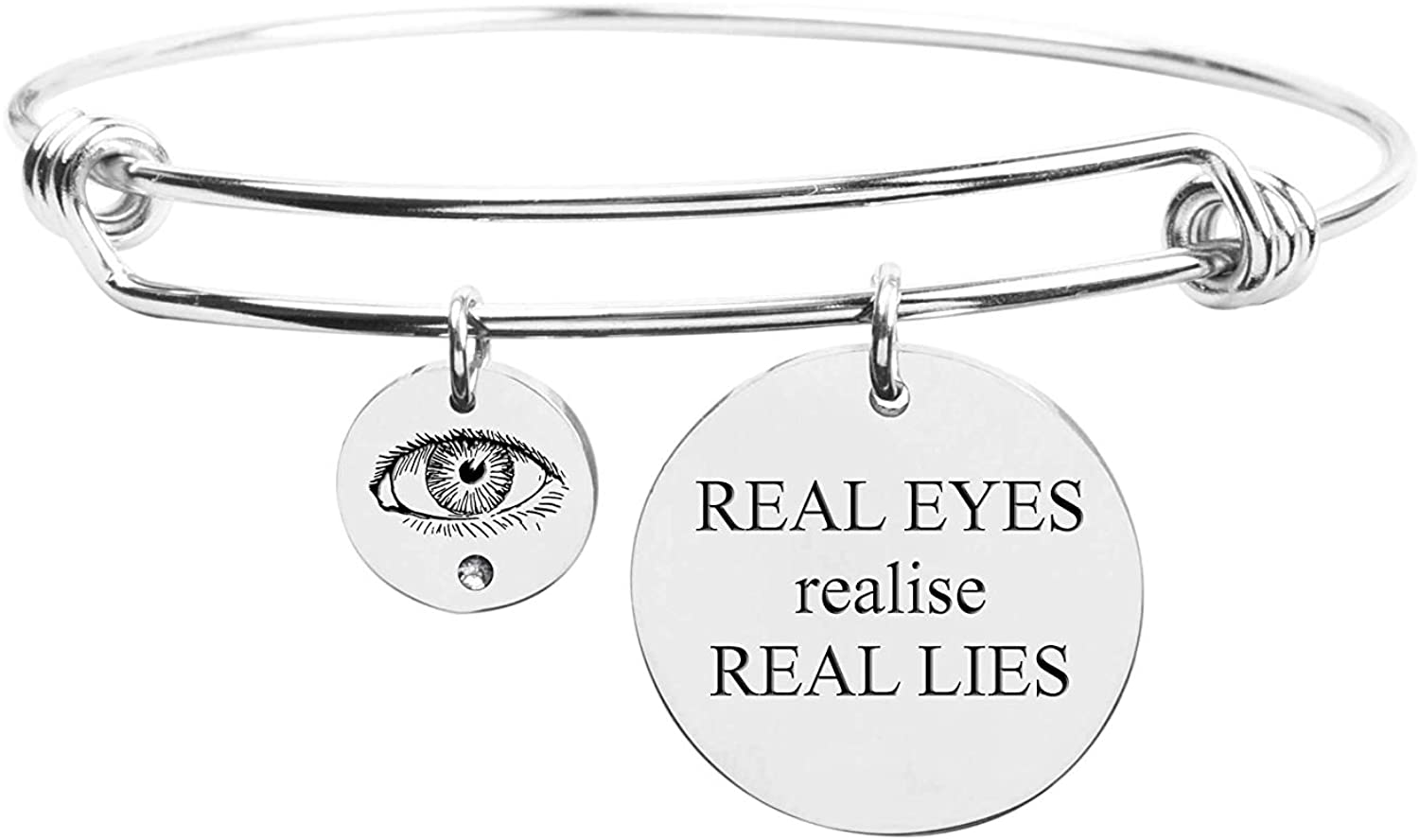 Pink Box Fun Sayings Bangle Silver - Real Eyes Realise