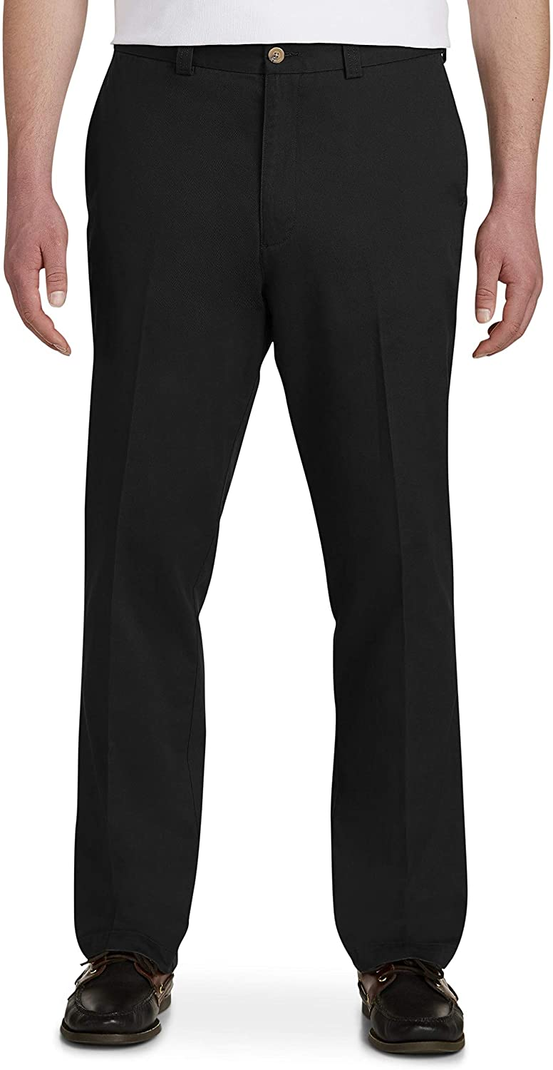 Harbor Bay by DXL Big and Tall Waist-Relaxer Pants, Black, 50R 30