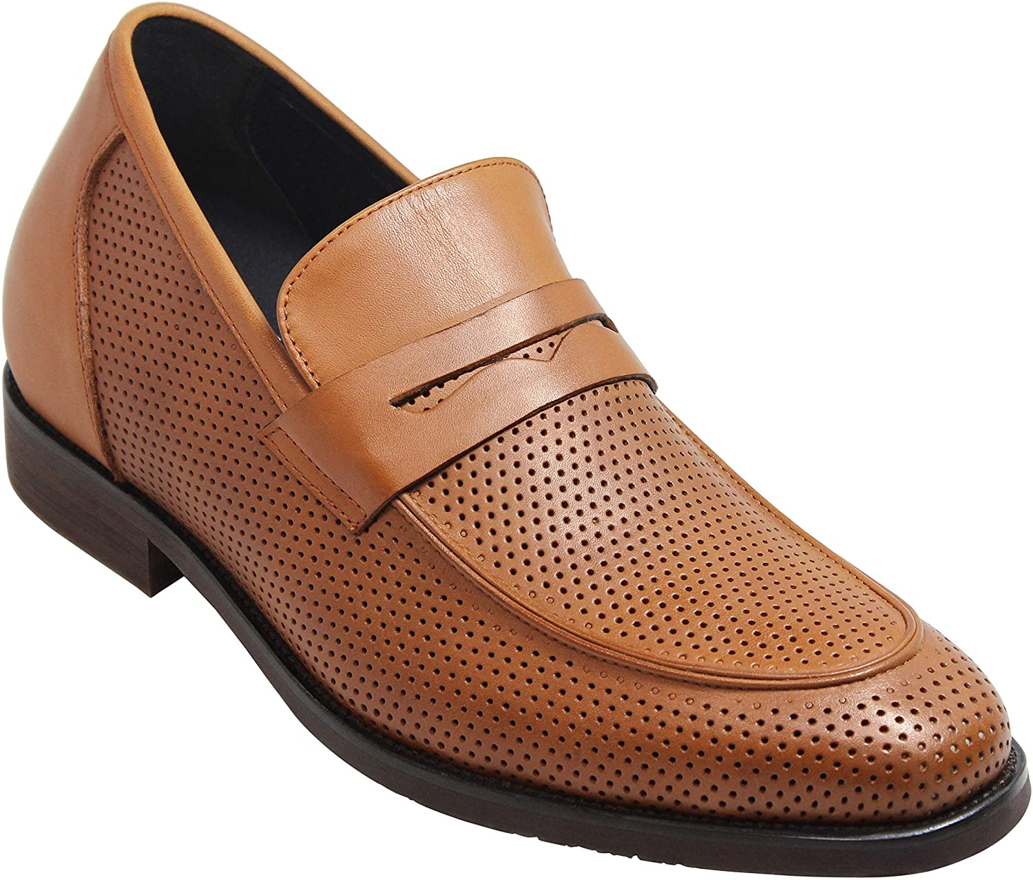 CALTO Men's Invisible Height Increasing Elevator Shoes - Brown Premium Leather Lightweight Perforated Penny Loafers - 2.8 Inches Taller - T9312