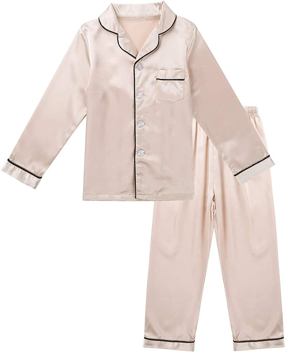 iiniim Kids Boys Girls Pajamas Silk Long Sleeve Button-Down Shirt Tops with Pants Nightwear Clothing Loungewear Outfit