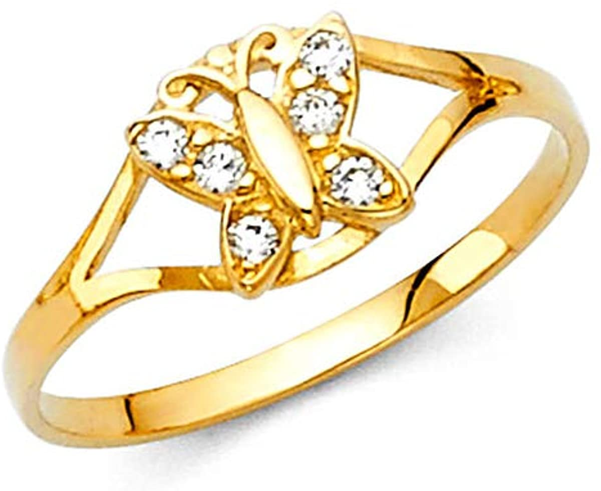 14K Real Yellow Gold 12 Months Butterfly Birth Stone Cubic Zirconia Babies Ring for Baby Girls… (April, 4.0)