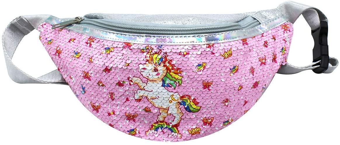 Girls Glitter Reversible Sequin Fanny Pack Waist Pack Cute Unicorn Causal Belt Bag for Teens Kids Women