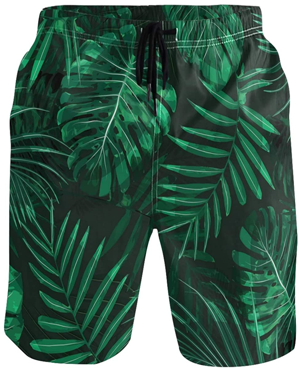 RunningBear Men's Swim Trunks - Jungle Leaves Beach Short Men Quick Dry Elastic Waist Board Shorts