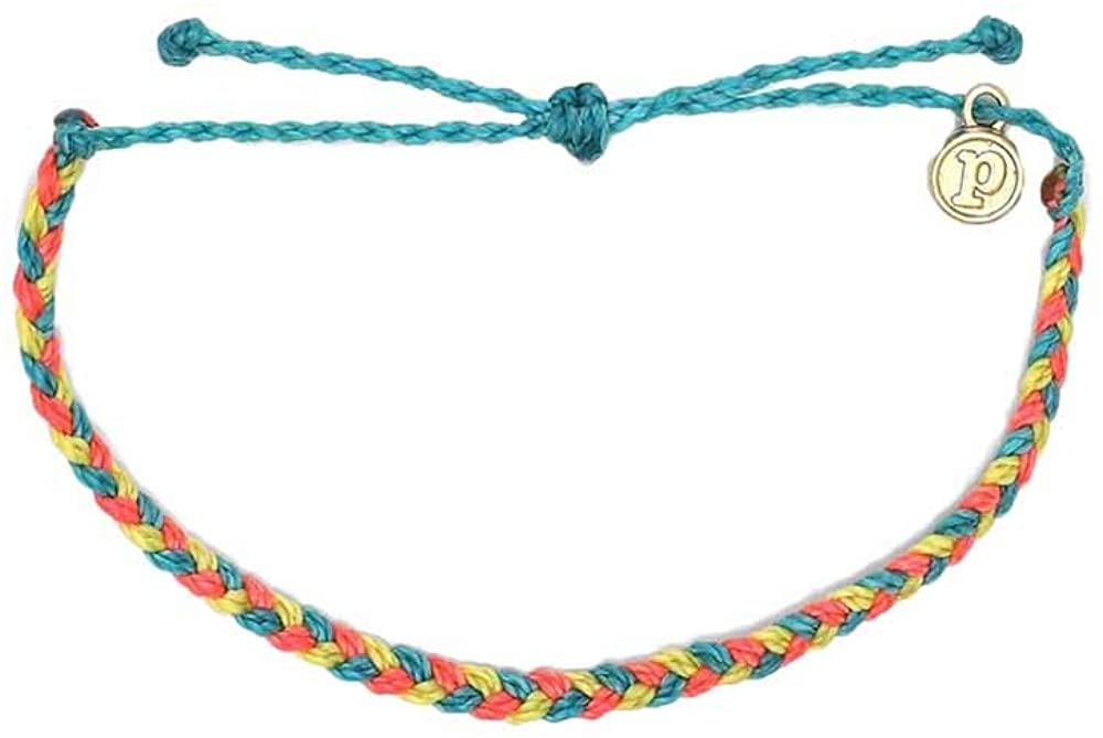 Pura Vida Mini Braided Bracelet - Plated Charm, Adjustable Band