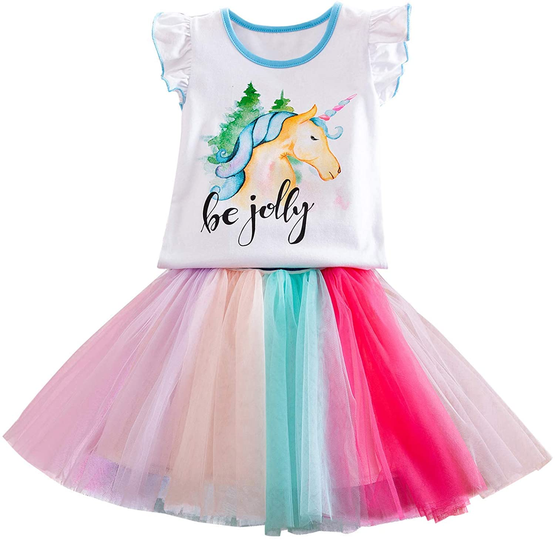 Girls Unicorn Tops Tees and Colorful Rainbow Tutu Skirt Set 2Pcs,Girls Unicorn Dress Summer