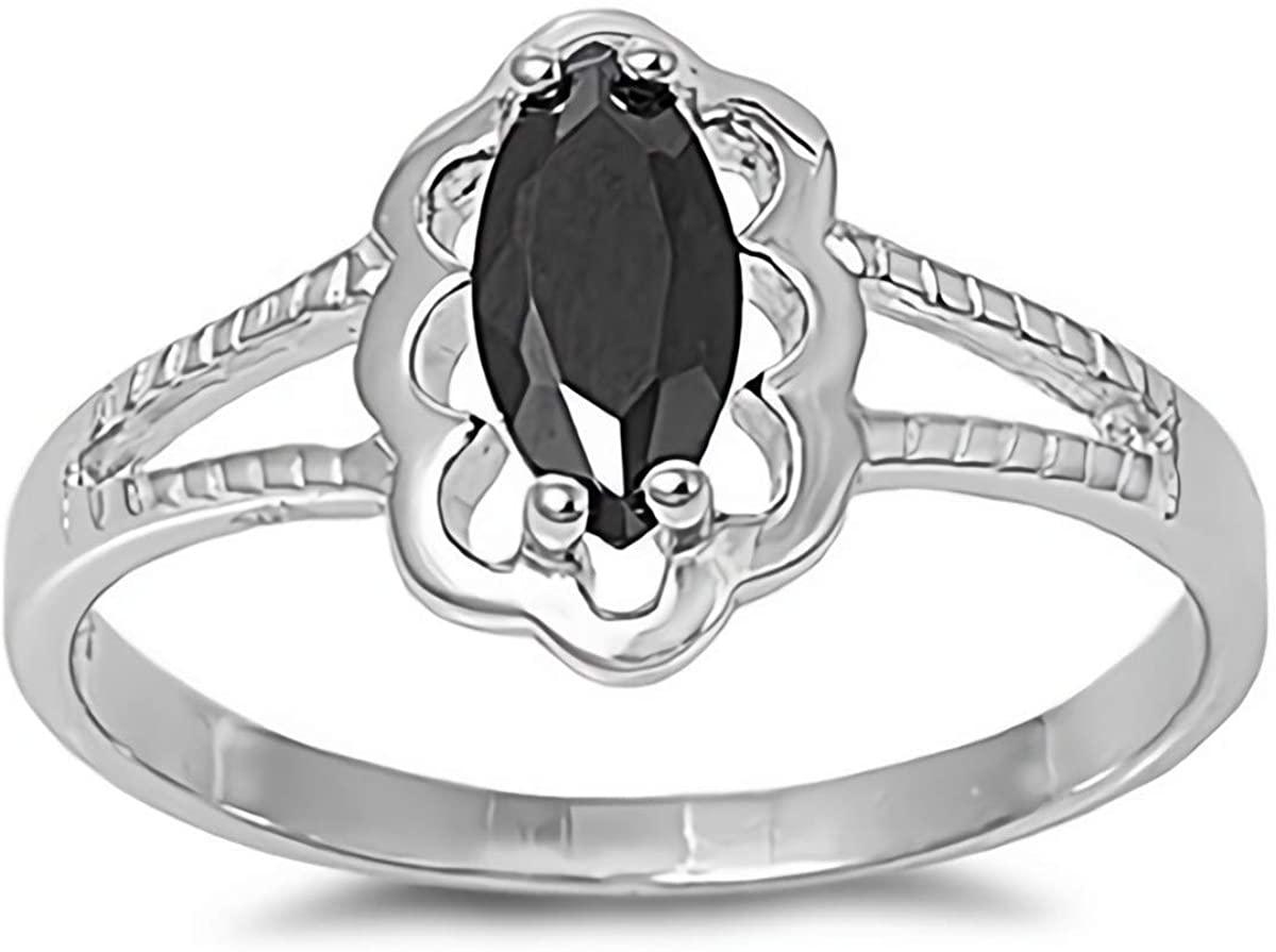 Glitzs Jewels 925 Sterling Silver Baby Ring (Black CZ) | Kids' Jewelry for Girls