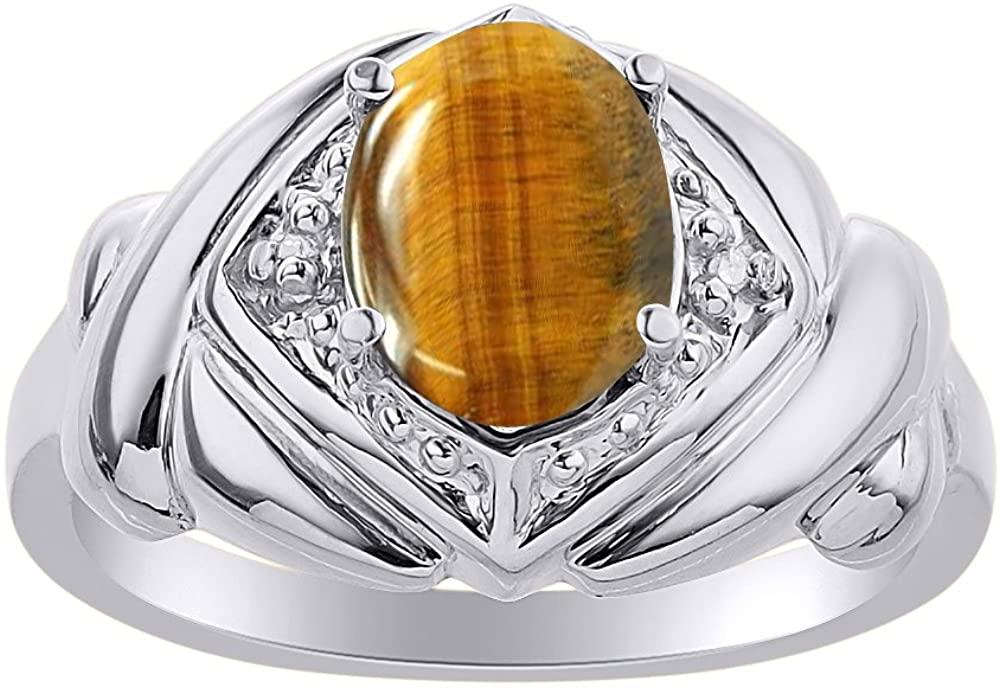 Diamond & Tiger Eye Ring Set In 14K White Gold - XO Hugs & Kisses - Color Stone Birthstone Ring