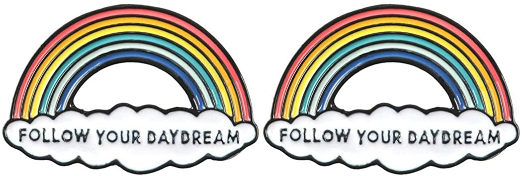 AnaPin Follow Your Daydream Rainbow Brooch Pin 2 Pcs Enamel Pins Lapel Badges