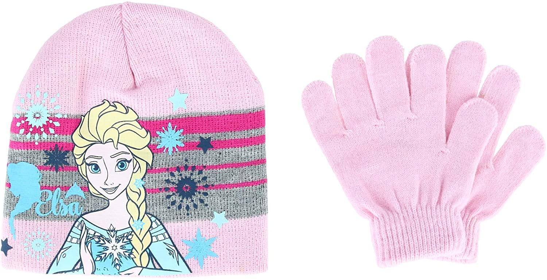 Textiel Trade Girl's Frozen Elsa Beanie Hat and Glove 2 Piece Set