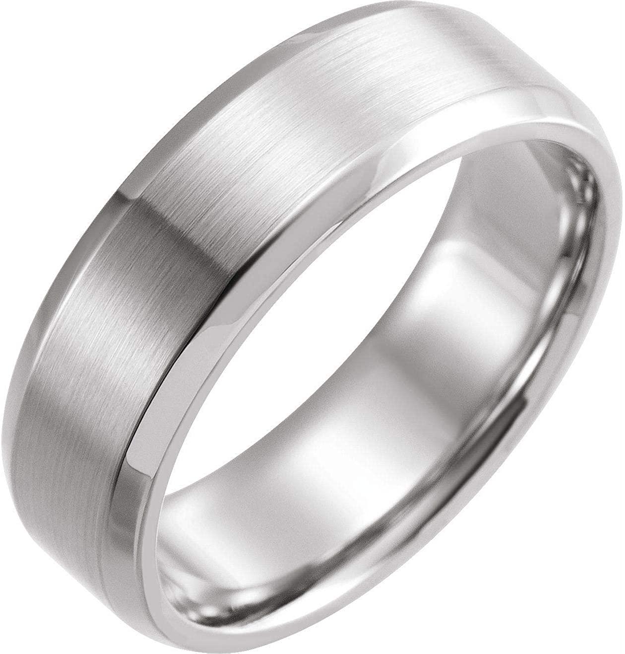 Bonyak Jewelry 14K X1 White 7mm Beveled-Edge Band with Satin Finish - Size 17 in 14k White Gold