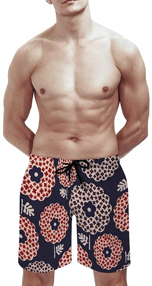 Mens Swim Trunks Flower Circle Swim Trunks for Men Short with LinerQuick Dry Shorts with Pockets for Adults Board Shorts
