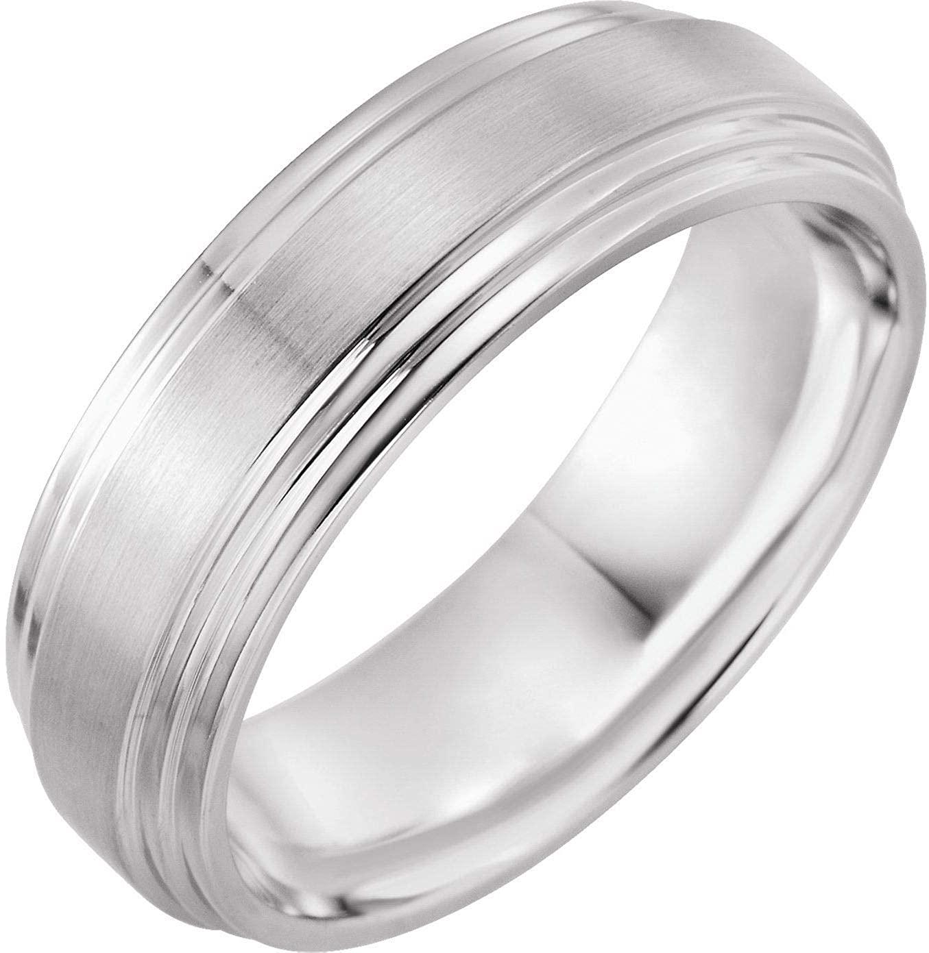 Bonyak Jewelry 14K X1 White 7mm Double Beveled-Edge Band with Satin/Polished Finish - Size 13 in 14k White Gold