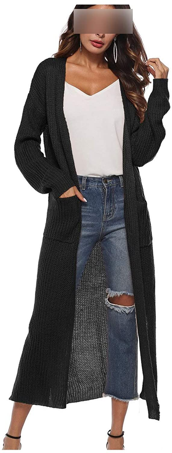 Solid Thick Long Cardigan with Pocket Split Sweater Winter Female Sweaters
