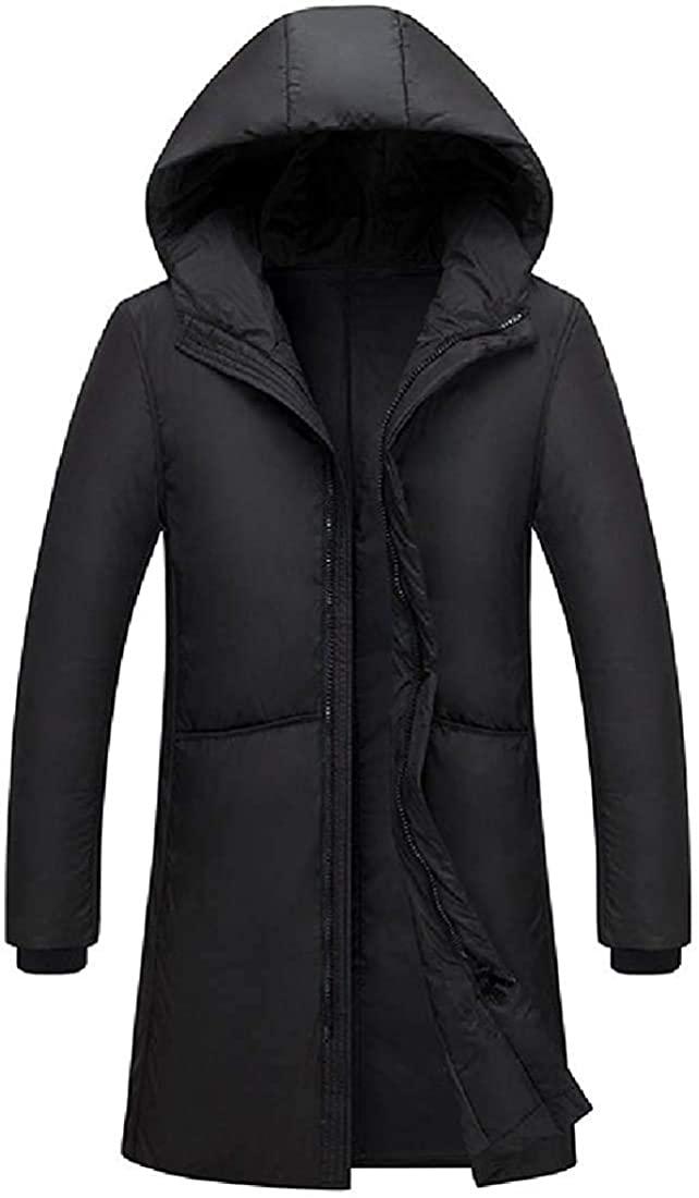 Men Plain Simple Outwear Full-Zip Thermal Hooded Thicken Mid-Long Down Jacket