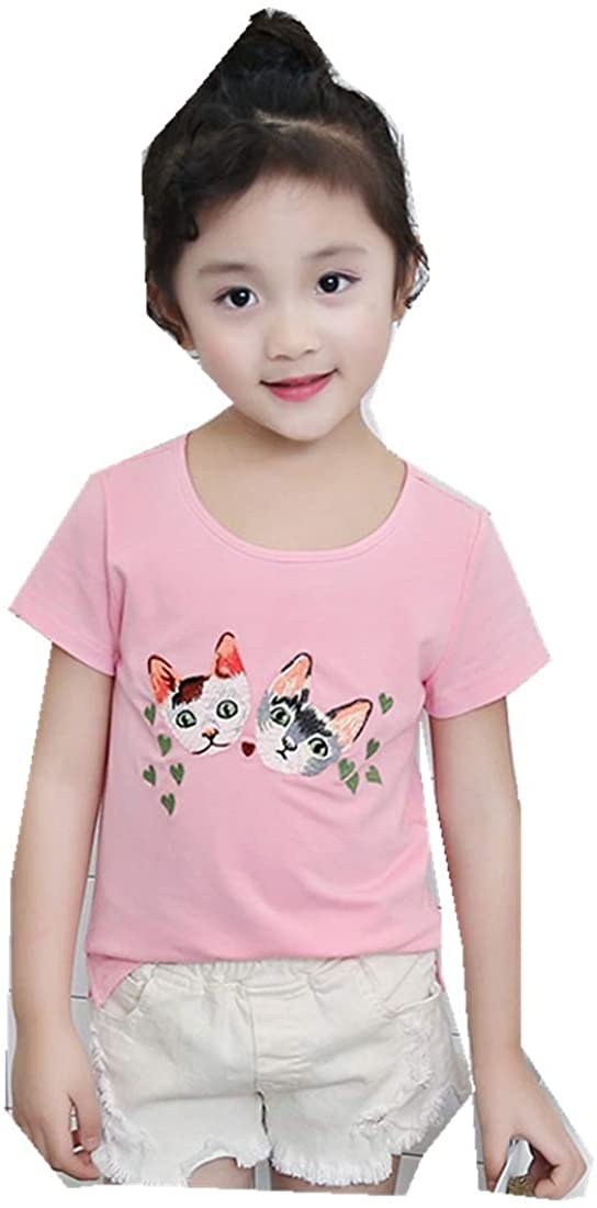 New Summer Childrens Tide Fan T-Shirt Cute Embroidery Bottoming Shirt